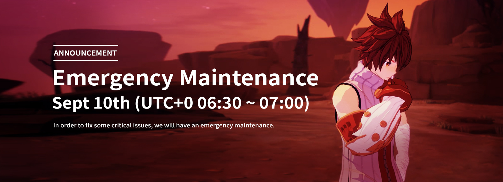September 10th Emergency Maintenance Announcement