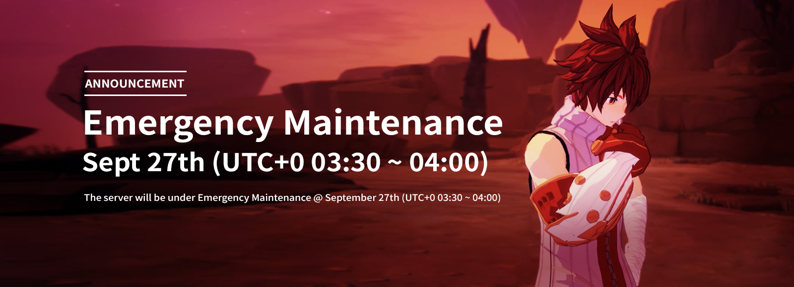 September 27th Emergency Maintenance Announcement