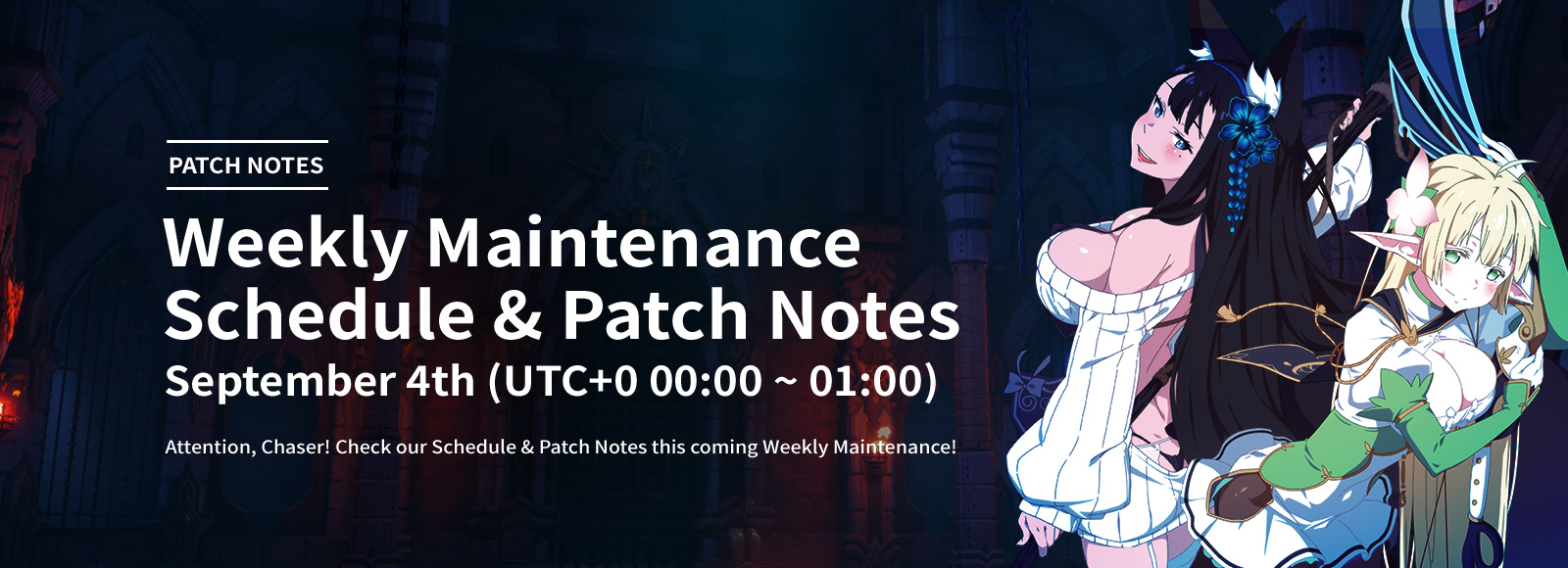 September 4th Weekly Maintenance Schedule & Patch Notes