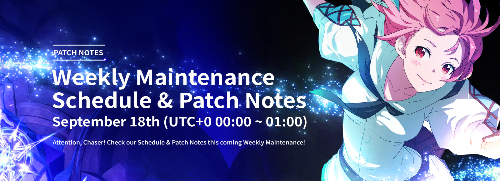 September 18th Weekly Maintenance Schedule & Patch Notes